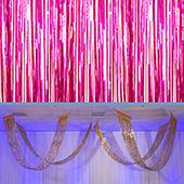 Cerise - Metallic Fringe Ceiling Curtain - Choose your Length