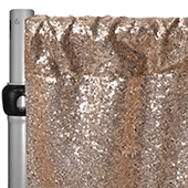 "Champagne Sequin Backdrop Curtain w/ 4"" Rod Pocket by Eastern Mills - 12ft Long x 4.5ft Wide"