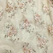 Champagne - Flourishing Mesh Lace Overlay by Eastern Mills - Many Size Options