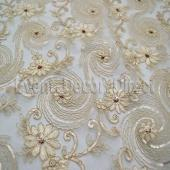 Champagne - Blossoming Lace Overlay by Eastern Mills - Many Size Options