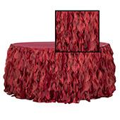 Spiral Taffeta & Organza Table Skirt  - 14 Feet x 30 Inches High - Apple Red