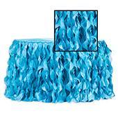 Spiral Taffeta & Organza Table Skirt  - 17 Feet x 30 Inches High - Aqua Blue