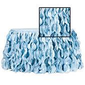 Spiral Taffeta & Organza Table Skirt  - 17 Feet x 30 Inches High - Baby Blue