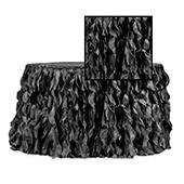 Spiral Taffeta & Organza Table Skirt  - 17 Feet x 30 Inches High - Black