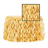 Spiral Taffeta & Organza Table Skirt  - 17 Feet x 30 Inches High - Bright Gold