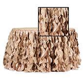 Spiral Taffeta & Organza Table Skirt  - 17 Feet x 30 Inches High - Champagne