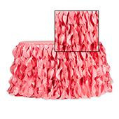 Spiral Taffeta & Organza Table Skirt  - 17 Feet x 30 Inches High - Coral