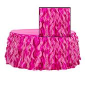 Spiral Taffeta & Organza Table Skirt  - 17 Feet x 30 Inches High - Fuchsia