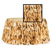 Spiral Taffeta & Organza Table Skirt  - 17 Feet x 30 Inches High - Gold