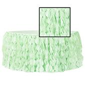 Spiral Taffeta & Organza Table Skirt  - 14 Feet x 30 Inches High - Mint Green