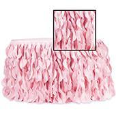 Spiral Taffeta & Organza Table Skirt  - 21 Feet x 30 Inches High - Pink