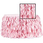 Spiral Taffeta & Organza Table Skirt  - 14 Feet x 30 Inches High - Pink