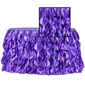 Spiral Taffeta & Organza Table Skirt  - 14 Feet x 30 Inches High - Purple