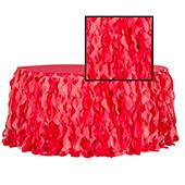 Spiral Taffeta & Organza Table Skirt  - 14 Feet x 30 Inches High - Red