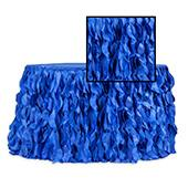 Spiral Taffeta & Organza Table Skirt  - 14 Feet x 30 Inches High - Royal Blue