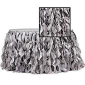 Spiral Taffeta & Organza Table Skirt  - 17 Feet x 30 Inches High - Silver