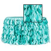 Spiral Taffeta & Organza Table Skirt  - 14 Feet x 30 Inches High - Turquoise