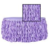 Spiral Taffeta & Organza Table Skirt  - 17 Feet x 30 Inches High - Victorian Lilac/Wisteria