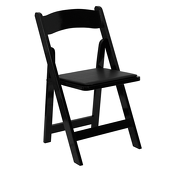 FirmFold™ Wood Folding Chair w/ Vinyl Padded Seat - 1000 lb Capacity - Black