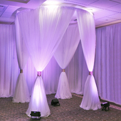 EZ Series Round 4-Post Canopy (Chuppah / Modern Mandap) - 10ft Diameter