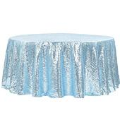 "120"" Round Sequin Tablecloth - Baby Blue"