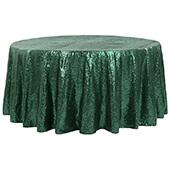 "120"" Round Sequin Tablecloth - Emerald Green"