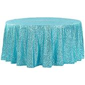 "120"" Round Sequin Tablecloth - Turquoise"