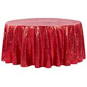 "132"" Round Sequin Tablecloth - Apple Red"