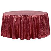 "132"" Round Sequin Tablecloth - Burgundy"