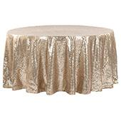 "132"" Round Sequin Tablecloth - Champagne"