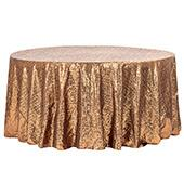 "132"" Round Sequin Tablecloth - Copper"