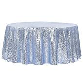 "132"" Round Sequin Tablecloth - Dusty Blue"