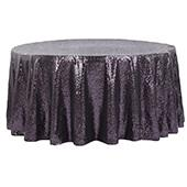 "132"" Round Sequin Tablecloth - Eggplant/Plum"