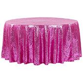 "132"" Round Sequin Tablecloth - Fuchsia"