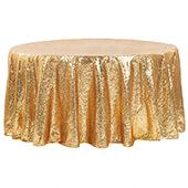 "132"" Round Sequin Tablecloth - Gold"