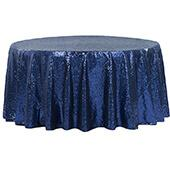 "132"" Round Sequin Tablecloth - Navy Blue"