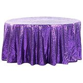 "132"" Round Sequin Tablecloth - Purple"