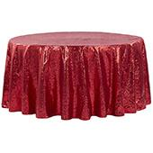 "132"" Round Sequin Tablecloth - Red"
