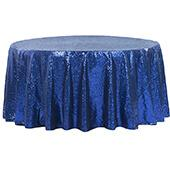 "132"" Round Sequin Tablecloth - Royal Blue"