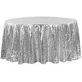 "132"" Round Sequin Tablecloth - Silver"