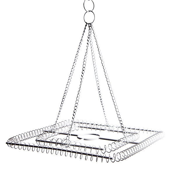 Medium 2-Ring Square Chandelier Frame - White Finish