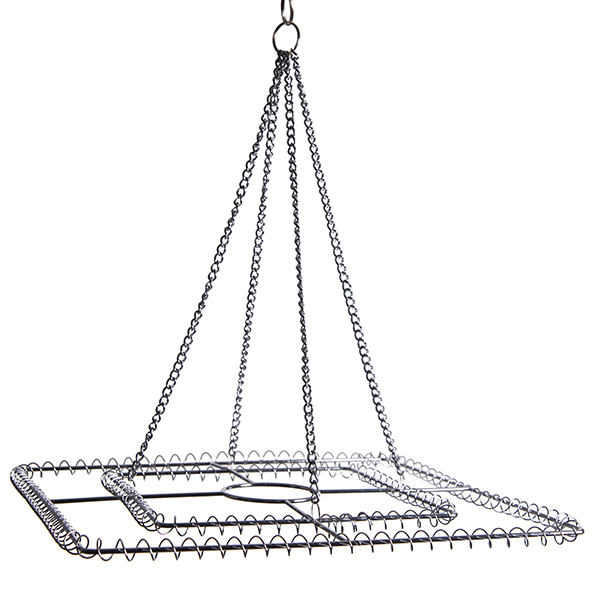 Large 2-Ring Square Chandelier Frame - Chrome Finish