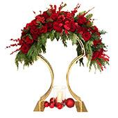 DECOSTAR™ Gold Metal Wedding Tabletop Centerpiece Arch for Floral Arrangements - 3ft Tall