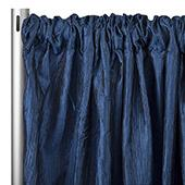 "Accordion Crushed Taffeta - 10ft Long x 54"" Wide Drape/Backdrop Panel - Navy Blue"
