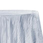 "Accordion Crushed Taffeta - 132"" Round Tablecloth - Dusty Blue"
