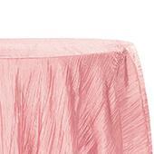 "Accordion Crushed Taffeta - 132"" Round Tablecloth - Dusty Rose/Mauve"