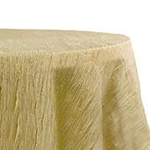 "Accordion Crushed Taffeta - 132"" Round Tablecloth - Gold"