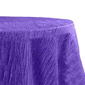 "Accordion Crushed Taffeta - 132"" Round Tablecloth - Purple"