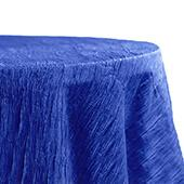 "Accordion Crushed Taffeta - 132"" Round Tablecloth - Royal Blue"