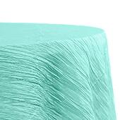 "Accordion Crushed Taffeta - 132"" Round Tablecloth - Turquoise"